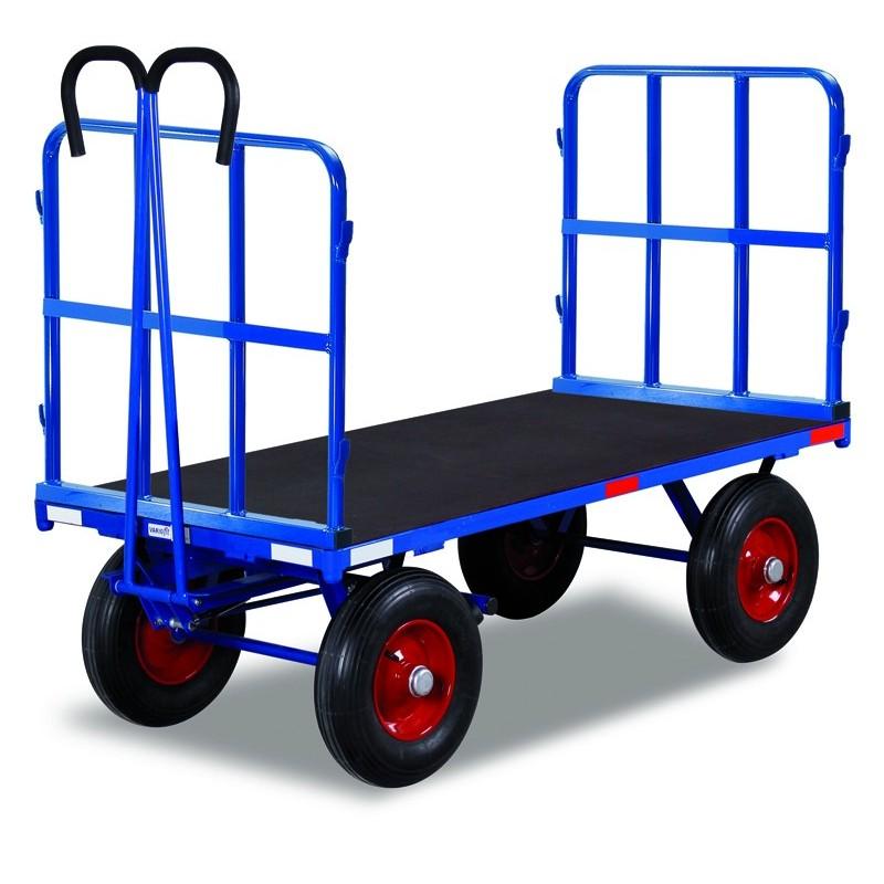 Remorque manuelle avec 2 ridelles, charge 700 kg