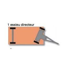 Remorque industrielle tractable à 1 essieu directeur, charge 2000 kg
