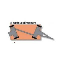 Remorque industrielle tractable à 2 essieux directeurs