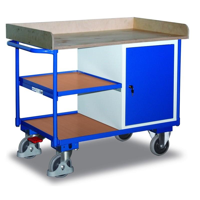 Etabli mobile avec 1 coffre et 3 plateaux, avec frein central EASY STOP