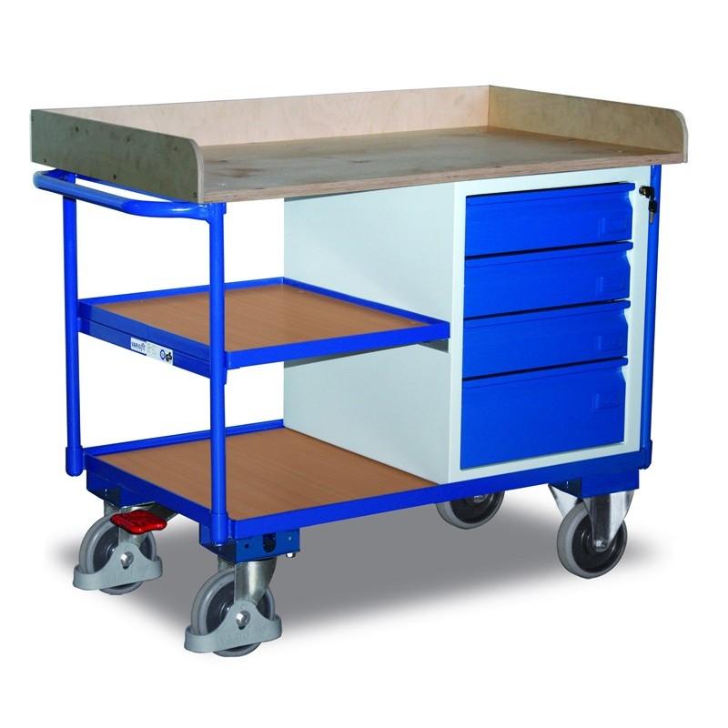 Etabli mobile avec 4 tiroirs et 3 plateaux, avec frein central EASY STOP