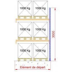 Rayonnage à palettes - Hauteur 3000 mm - Elément suivant 1850