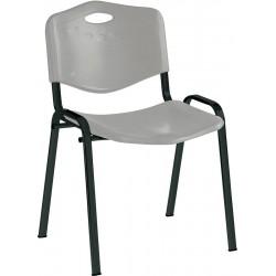 Chaise assise et dossier en polypropylène, gris