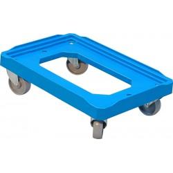 Plateau roulant porte-bacs bleu