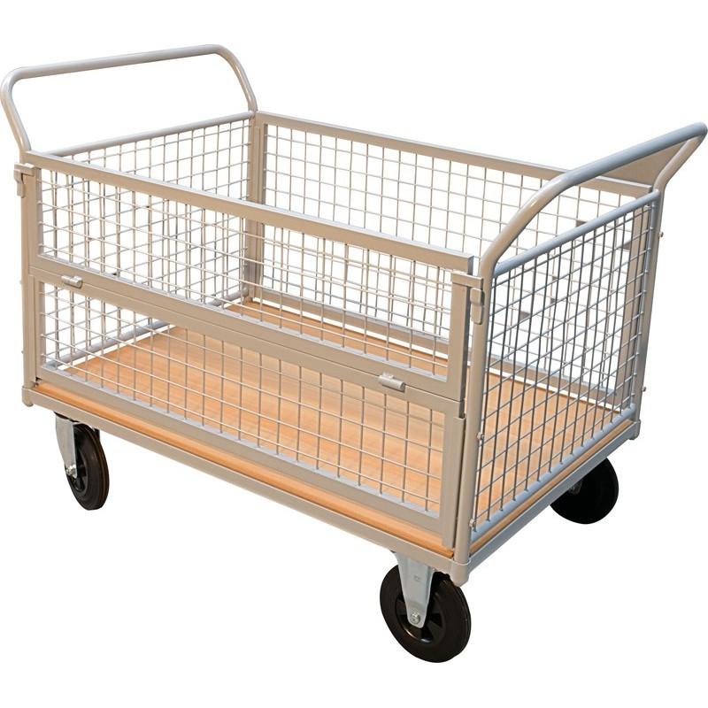 Chariot à ridelles 4 panneaux, charge 500 kg
