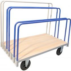 Chariot porte-panneaux à ridelles amovibles, charge 400 kg