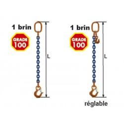 Elingues à chaîne 1 brin Grade 100 avec 1 anneau et 1 crochet