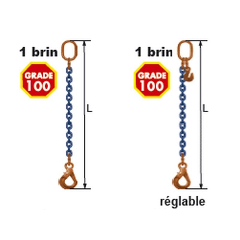 Elingues à chaîne 1 brin Grade 100 avec 1 anneau et 1 crochet à verrouillage automatique