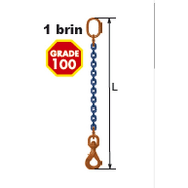 Elingues à chaîne 1 brin Grade 100 avec 1 anneau et 1 crochet à verrouillage automatique à touret
