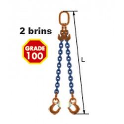 Elingues à chaîne réglable 2 brins Grade 100 avec 2 crochets