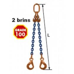 Elingues à chaîne réglable 2 brins Grade 100 avec 2 crochets à verrouillage automatique
