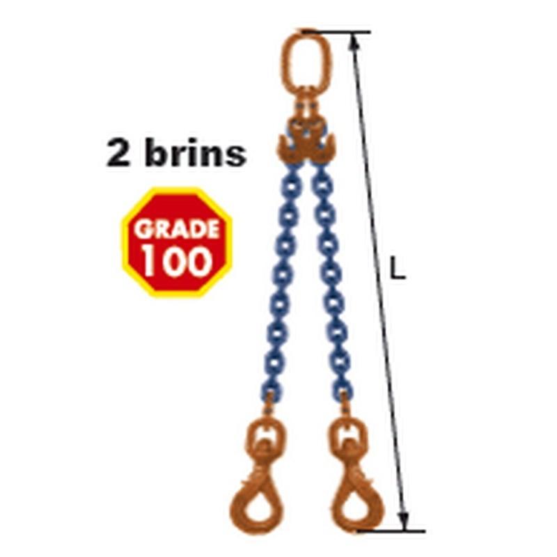 Elingues à chaîne réglable 2 brins Grade 100 avec 2 crochets à verrouillage automatique à touret