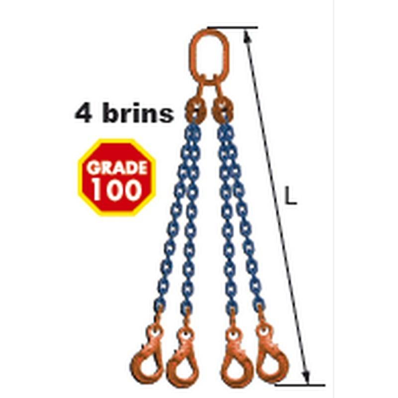 Elingues à chaîne réglable 4 brins Grade 100 avec 4 crochets à verrouillage automatique