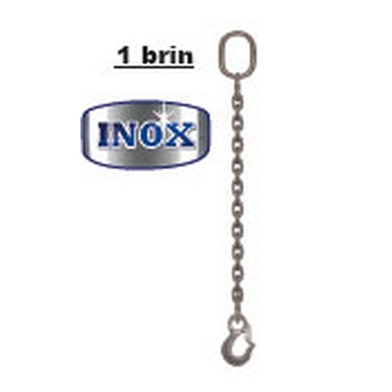 Elingues inox à chaîne 1 brin avec 1 anneau et 1 crochet