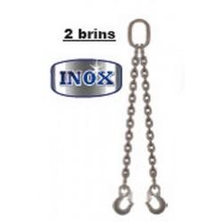 Elingues inox à chaîne 2 brins avec 1 anneau et 2 crochets