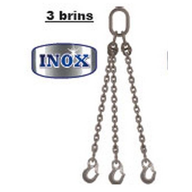 Elingues inox à chaîne 3 brins avec 1 anneau et 3 crochets