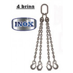 Elingues inox à chaîne 4 brins avec 1 anneau et 4 crochets
