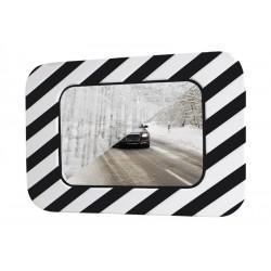 Miroir d'agglomération noir & blanc anti-buée et anti-givre, rectangulaire