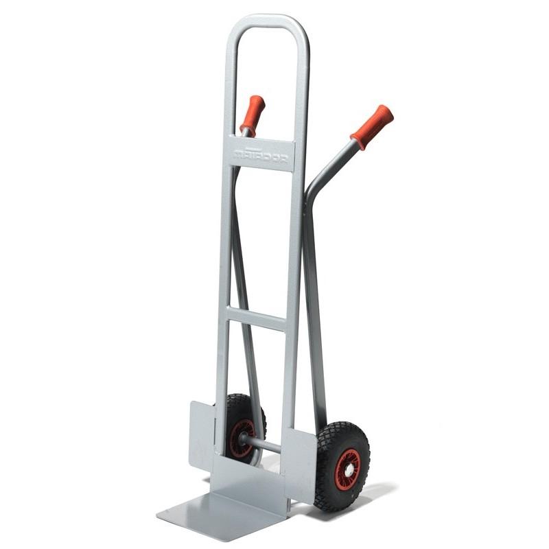 Diable à haut dossier, charge 350 kg, roue pneumatique