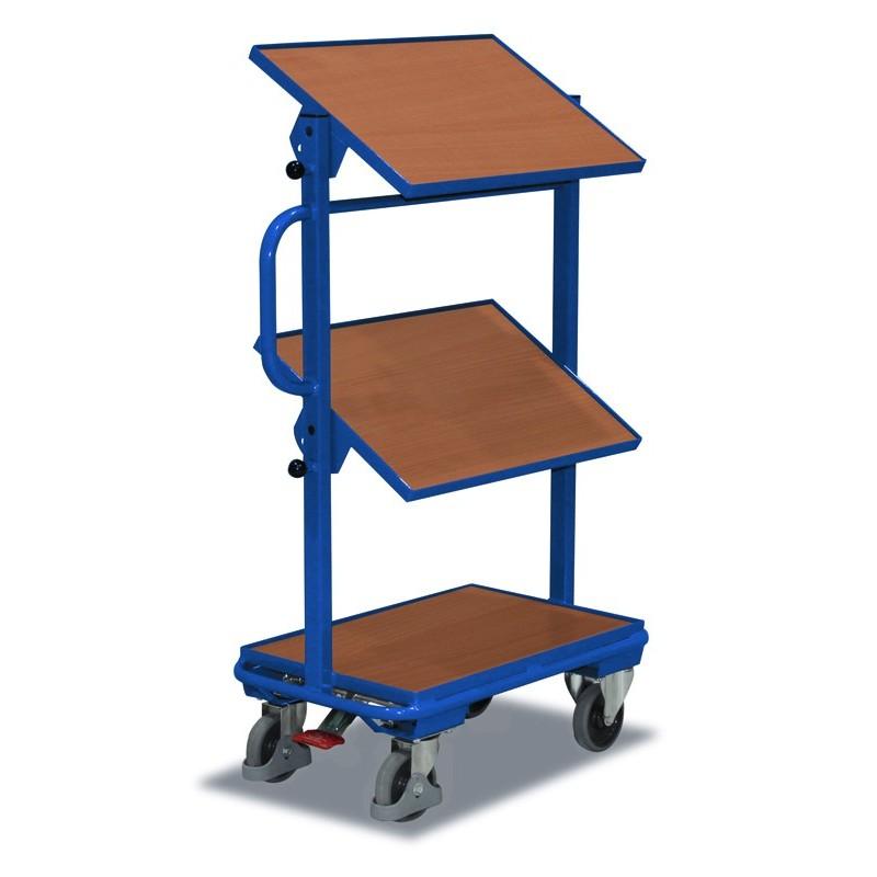 Chariot porte-bacs avec 3 plateaux en bois, inclinaison 15 ou 30