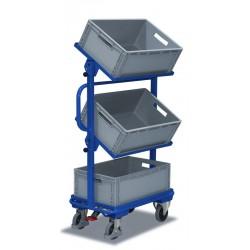Chariot porte-bacs avec 3 bacs plastiques, inclinaison 15 ou 30