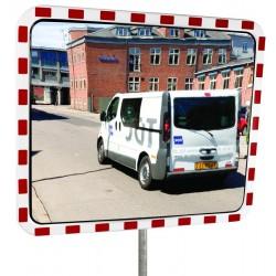 Miroir de surveillance blanc/rouge rectangulaire