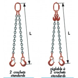 Elingue à chaîne 2 brins Grade 80 avec 2 crochets