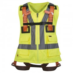 Harnais gilet haute visibilité - 2 points d'accroche jaune fluo