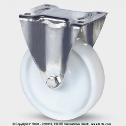 Roulettes en acier inoxydable TENTE polyamide Ø125 charge 200 kg fixe