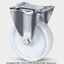 Roulettes en acier inoxydable TENTE polyamide Ø200 charge 500 kg, fixe