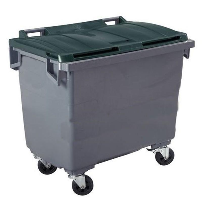 Conteneur poubelle 660 l, cuve grise, 4 roues, vert