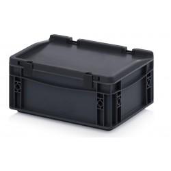 Bacs plastiques norme EURO ESD 300 x 200 mm avec couvercle, 4.5 litres