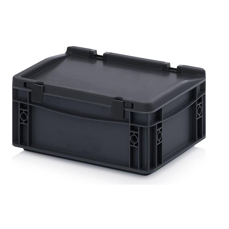 bacs plastiques norme euro esd 300 x 200 mm avec couvercle bacs anti statiques. Black Bedroom Furniture Sets. Home Design Ideas