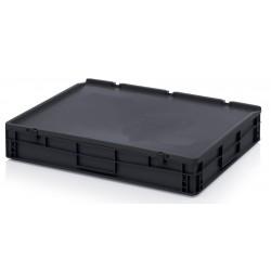 Bacs plastiques norme EURO ESD 800 x 600 mm avec couvercle, 45 litres