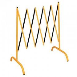 Barrière extensible acier, jaune/noir
