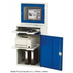 Armoire informatique avec caisson de protection écran plat