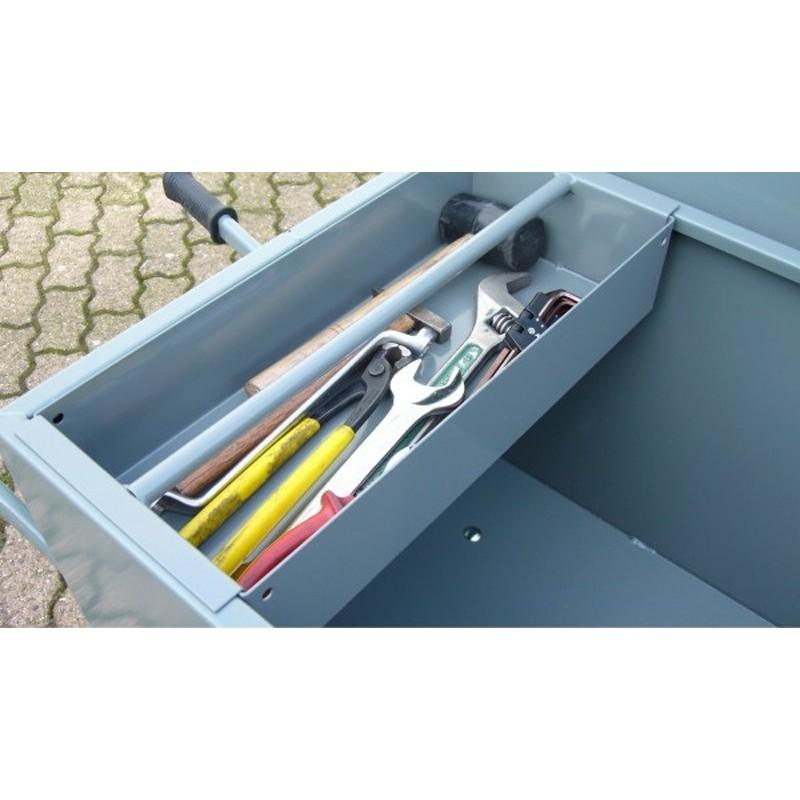 Bac à outils pour brouette avec caisse