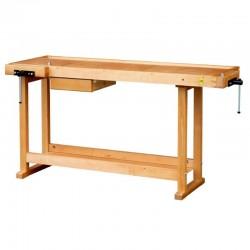 Etabli bois avec 1 tiroir et 1 étagère