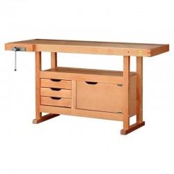 Etabli bois avec 3 tiroirs et 1 caisson