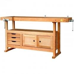Etabli bois avec 3 tiroirs, 1 caisson et 2 griffes de serrage