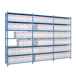 Rayonnage boîtes archives double accès, 7 niveaux