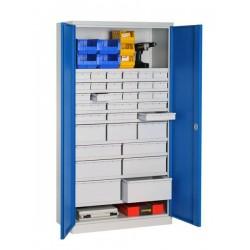 Armoire haute d'atelier équipée 33 tiroirs