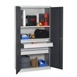 Armoire haute d'atelier équipée 4 tiroirs