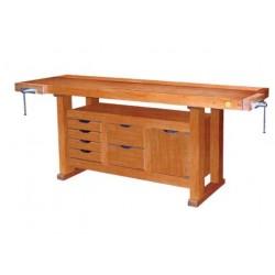 Etabli bois avec 6 tiroirs et 1 caisson