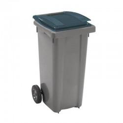 Conteneur poubelle 120 l, cuve grise, 2 roues couvercle vert