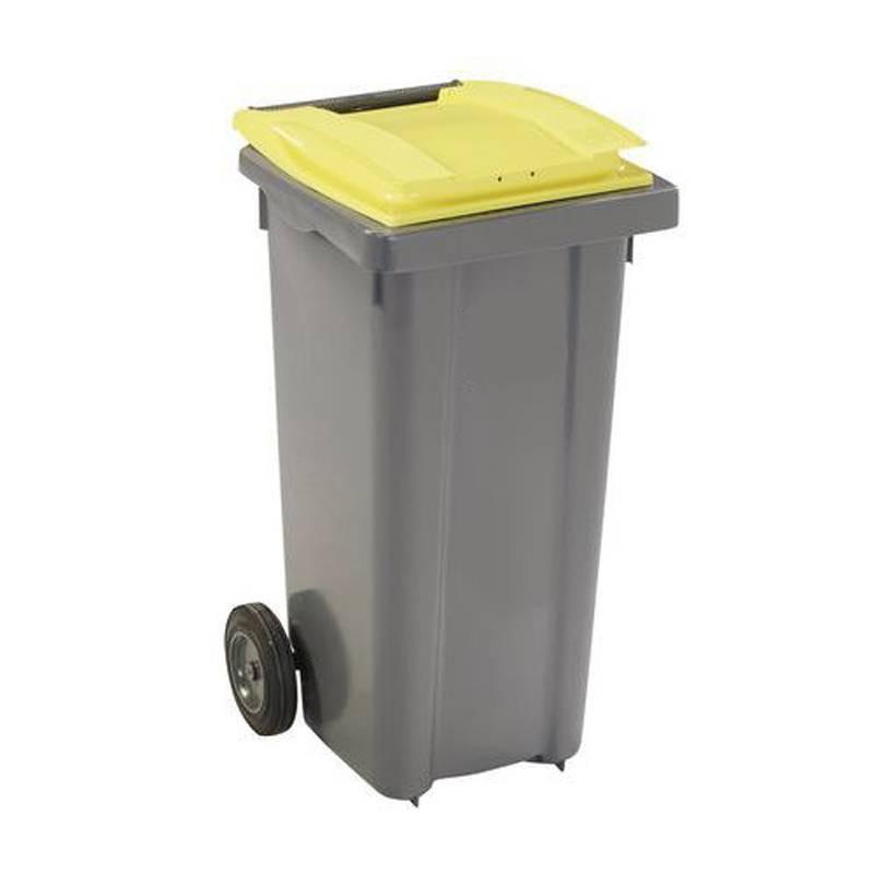 Conteneur poubelle 140 l, cuve grise, 2 roues couvercle jaune
