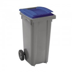 Conteneur poubelle 140 l, cuve grise, 2 roues couvercle bleu