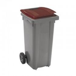 Conteneur poubelle 140 l, cuve grise, 2 roues couvercle rouge