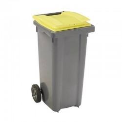 Conteneur poubelle 240 l, cuve grise, 2 roues couvercle jaune
