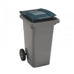 Conteneur poubelle 360 l, cuve grise, 2 roues couvercle vert
